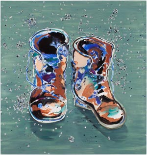 Leena Nio Boots 2014 120 x 115 cm Oil on canvas GF 8591 Kuva: Jussi Tiainen